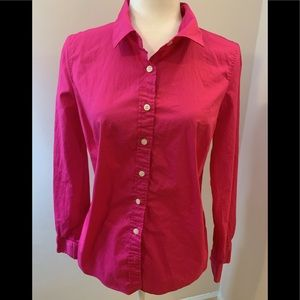 J Crew pink cotton button down shirt, size M..